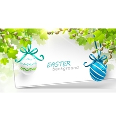 Easter decoration with leaves vector