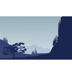 Landscape tree in mountain vector