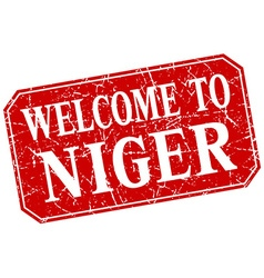 Welcome to niger red square grunge stamp vector