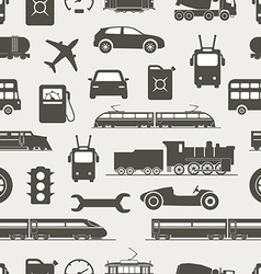 Vintage and modern vehicle silhouettes seamless vector