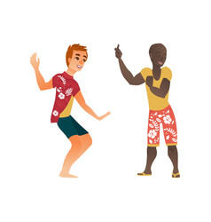 african caucasian men dancing at beach vector image