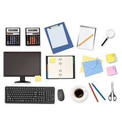 big office supplies set4 vector image vector image