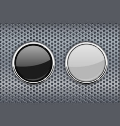 black and white round glass buttons with chrome vector image vector image