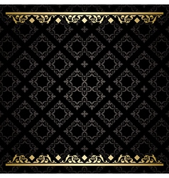 Black decorative background with gold tracery vector