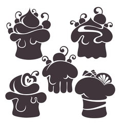 cakes silhouettes vector image