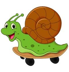 Cartoon snail on skateboard vector image