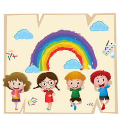 children and colorful rainbow on paper vector image