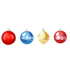 Christmas multicolor toys isolated on white vector