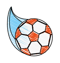 Color crayon stripe cartoon soccer ball with speed vector