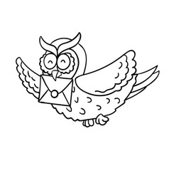 Cute cartoon wise flying post owl with mail vector
