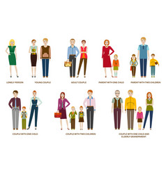 different family compositions and couples with vector image