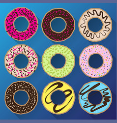 Donut minimalistic flat set with sweet cream vector