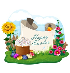 Easter bread and painted eggs and paper scroll vector image vector image
