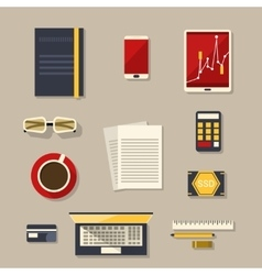 Flat design Business workplace with flat icons vector image