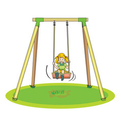girl playing on a swing vector image