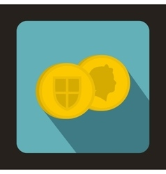 Gold pound coins icon flat style vector image