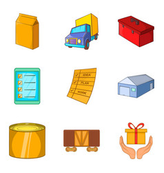Goods storage icons set cartoon style vector