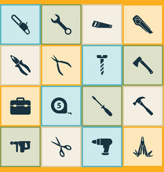 handtools icons set collection of meter clamp vector image vector image