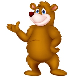 Happy bear cartoon presenting vector