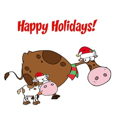 Happy Holidays Greeting Over Christmas Cows vector image vector image