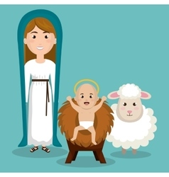 happy merry christmas manger character vector image vector image