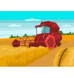 Harvester gather wheat cartoon vector
