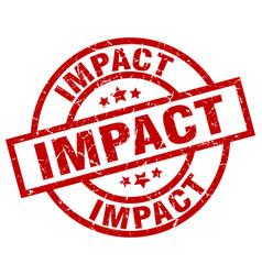 Impact round red grunge stamp vector