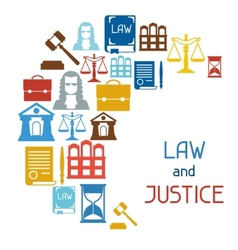 Law and justice icons background in flat design vector image
