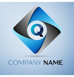 Letter q logo symbol in the colorful rhombus vector