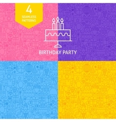Line birthday party patterns vector