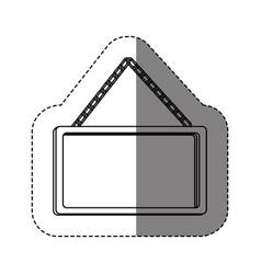 Monochrome contour sticker with rectangular frame vector