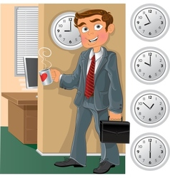 Office worker with cup of tea or coffee vector image vector image