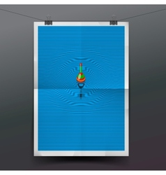Paper banner with float fishing line underwater vector