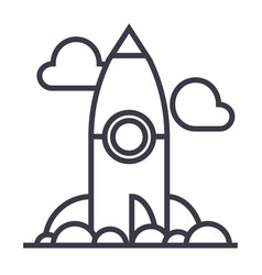 project rocket launch line icon sign vector image vector image