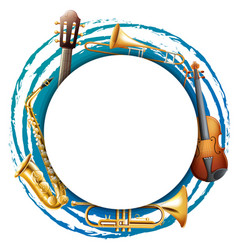 round frame with musical instruments vector image