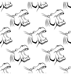 Seamless pattern of a hippo with an open mouth vector image