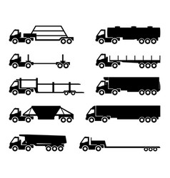 set of silhouettes the cargo trucks vector image vector image