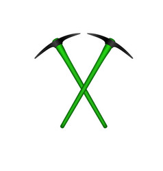 two crossed mattocks in black design vector image vector image