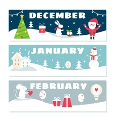 Winter months calendar flashcards set nature vector