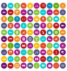 100 public transport icons set color vector