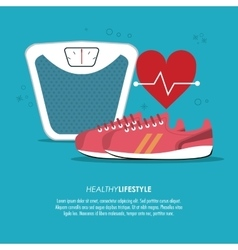 Heart scale and shoes icon healthy lifestyle vector