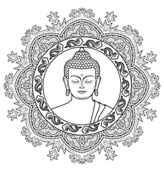 Buddha head on mandala background vector