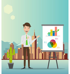 businessman making a presentation in front of a bo vector image