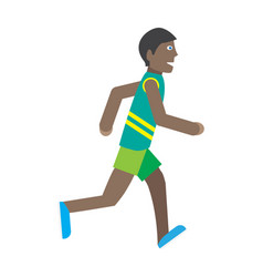 Boy runs isolated on white young jogger athlete vector