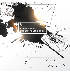 Black ink splatter grungy background with network vector