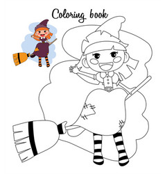 Cute little witch girl sitting on a broom vector
