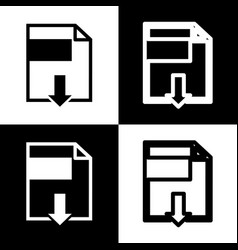 File download sign  black and white icons vector