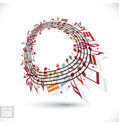Red music background with clef and notes vector image