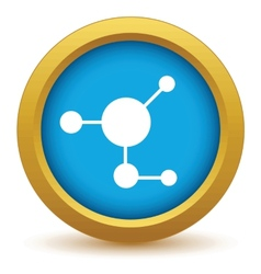 Gold atom icon vector