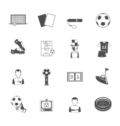 Soccer icons set black vector